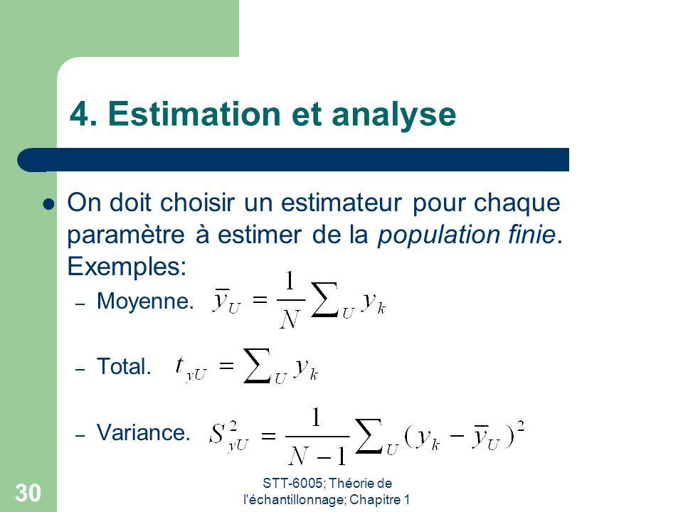STT-6005; Théorie de l'échantillonnage; Chapitre 1 30 4. Estimation et analyse On doit choisir un estimateur pour chaque paramètre à estimer de la pop