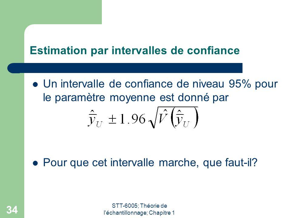 STT-6005; Théorie de l échantillonnage; Chapitre 1 34 Estimation par intervalles de confiance Un intervalle de confiance de niveau 95% pour le paramètre moyenne est donné par Pour que cet intervalle marche, que faut-il?