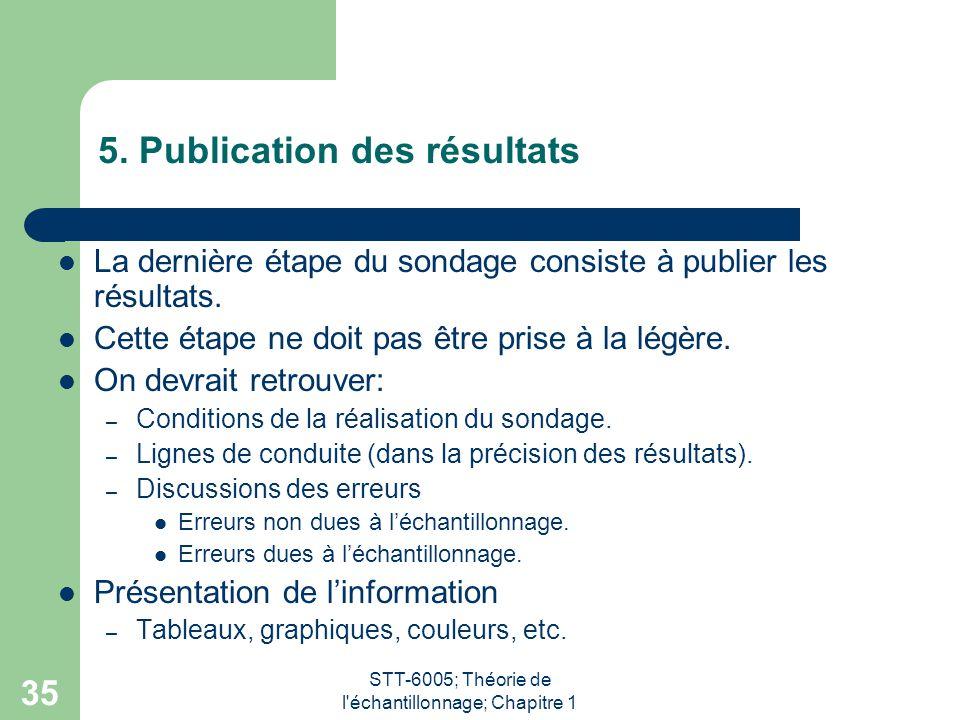 STT-6005; Théorie de l'échantillonnage; Chapitre 1 35 5. Publication des résultats La dernière étape du sondage consiste à publier les résultats. Cett