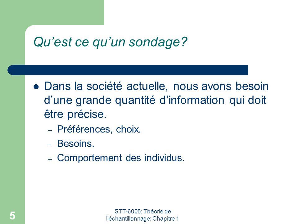 STT-6005; Théorie de l échantillonnage; Chapitre 1 5 Qu'est ce qu'un sondage.