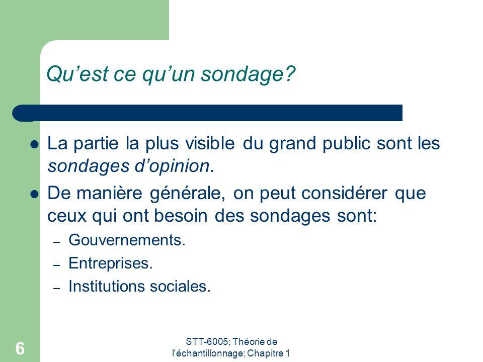 STT-6005; Théorie de l'échantillonnage; Chapitre 1 6 Qu'est ce qu'un sondage? La partie la plus visible du grand public sont les sondages d'opinion. D