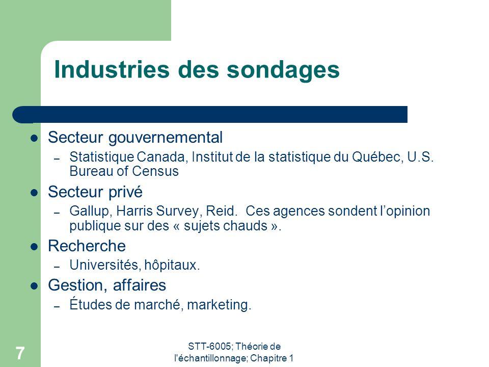 STT-6005; Théorie de l échantillonnage; Chapitre 1 7 Industries des sondages Secteur gouvernemental – Statistique Canada, Institut de la statistique du Québec, U.S.