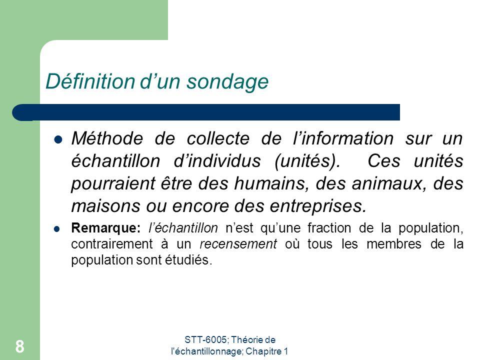 STT-6005; Théorie de l échantillonnage; Chapitre 1 8 Définition d'un sondage Méthode de collecte de l'information sur un échantillon d'individus (unités).