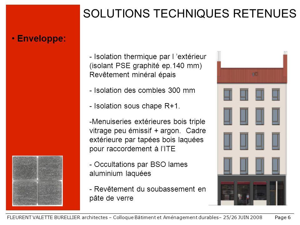FLEURENT VALETTE BURELLIER architectes – Colloque Bâtiment et Aménagement durables– 25/26 JUIN 2008Page 6 SOLUTIONS TECHNIQUES RETENUES Enveloppe: - I