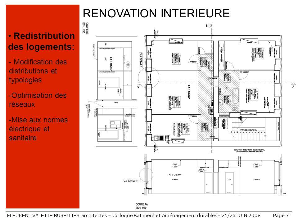 FLEURENT VALETTE BURELLIER architectes – Colloque Bâtiment et Aménagement durables– 25/26 JUIN 2008Page 7 RENOVATION INTERIEURE Redistribution des log