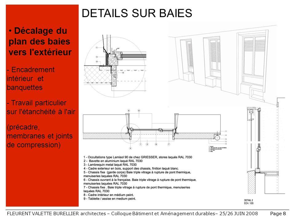 FLEURENT VALETTE BURELLIER architectes – Colloque Bâtiment et Aménagement durables– 25/26 JUIN 2008Page 8 DETAILS SUR BAIES Décalage du plan des baies