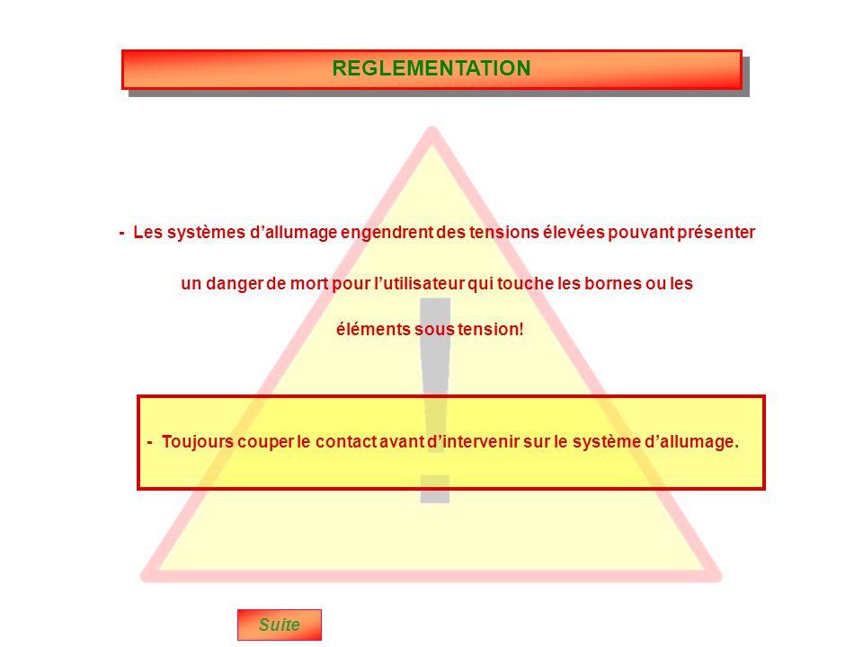REGLEMENTATION Suite - Les systèmes d'allumage engendrent des tensions élevées pouvant présenter - Toujours couper le contact avant d'intervenir sur le système d'allumage.