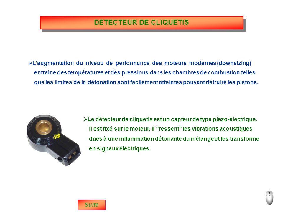 DETECTEUR DE CLIQUETIS que les limites de la détonation sont facilement atteintes pouvant détruire les pistons.