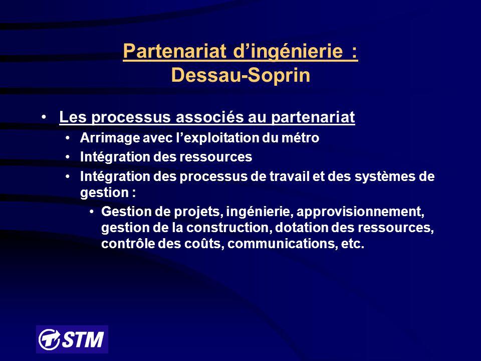 Partenariat d'ingénierie : Dessau-Soprin Fondements de l'entente : Idée de base : traiter simultanément les questions d'ingénierie, d'approvisionnement et de gestion de la construction Insuffisance des ressources à la STM Programme d'envergure à encadrer et à soutenir : 331 M$ sur 5 ans dans un réseau en exploitation Mettre en commun les ressources de la STM et celles d'une firme de génie conseil Partenaire choisi par appel public d'offres avec pré-qualification