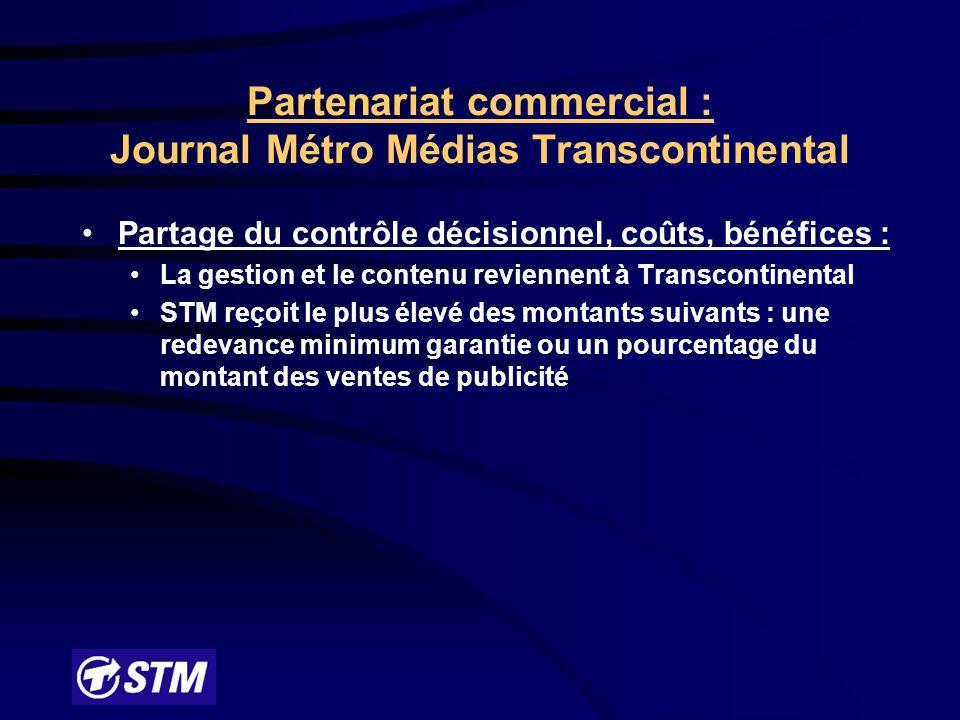 Fondements de l'entente : MétroUn concept de communication unique taillé sur mesure pour la clientèle du TEC; un journal gratuit et quotidien : Métro Réserve d'une page dont le contenu est produit par la STM