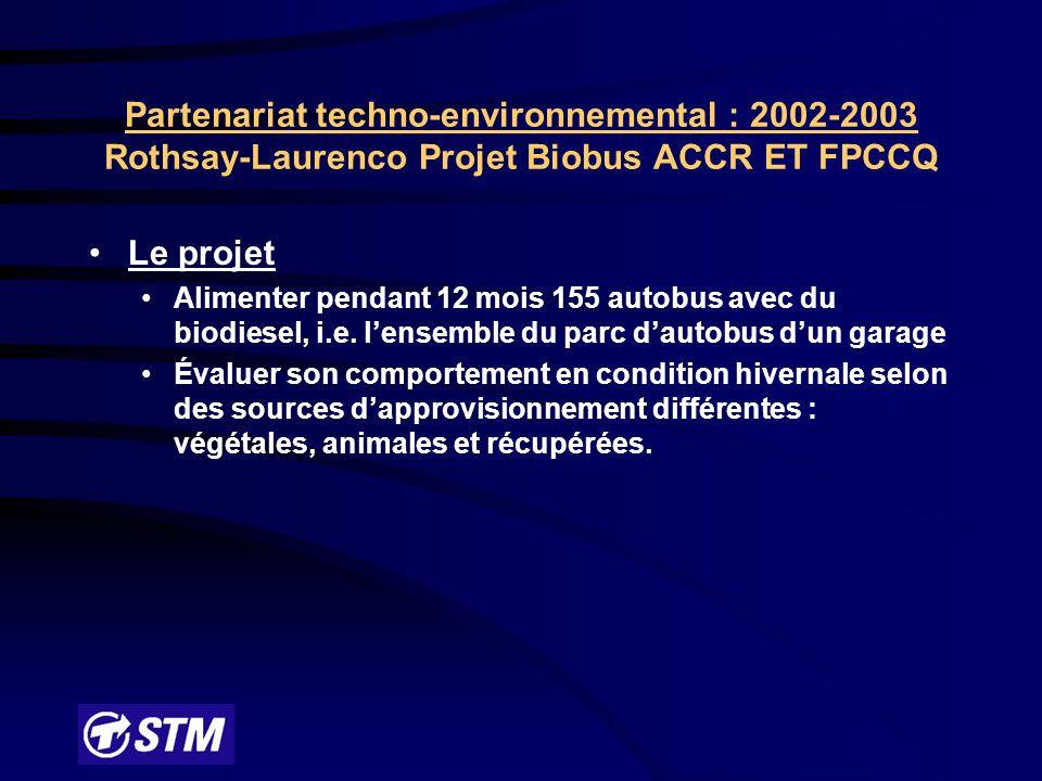 Partenariat techno-environnemental : 2002-2003 Rothsay-Laurenco Projet Biobus ACCR ET FPCCQ