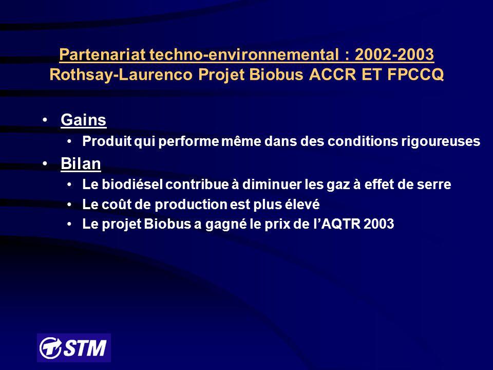 Partage du contrôle décisionnel, coûts/bénéfices Création d'un comité de direction formé de représentants de tous les partenaires Droit de veto STM (sur décisions pouvant affecter la livraison du service) STM : pas de participation financière mais participation «in kind»; personnel associé, infrastructures, matériel et véhicules (155) Suivi rigoureux du budget initial (890 000 $) Partenariat techno-environnemental : 2002-2003 Rothsay-Laurenco Projet Biobus ACCR ET FPCCQ