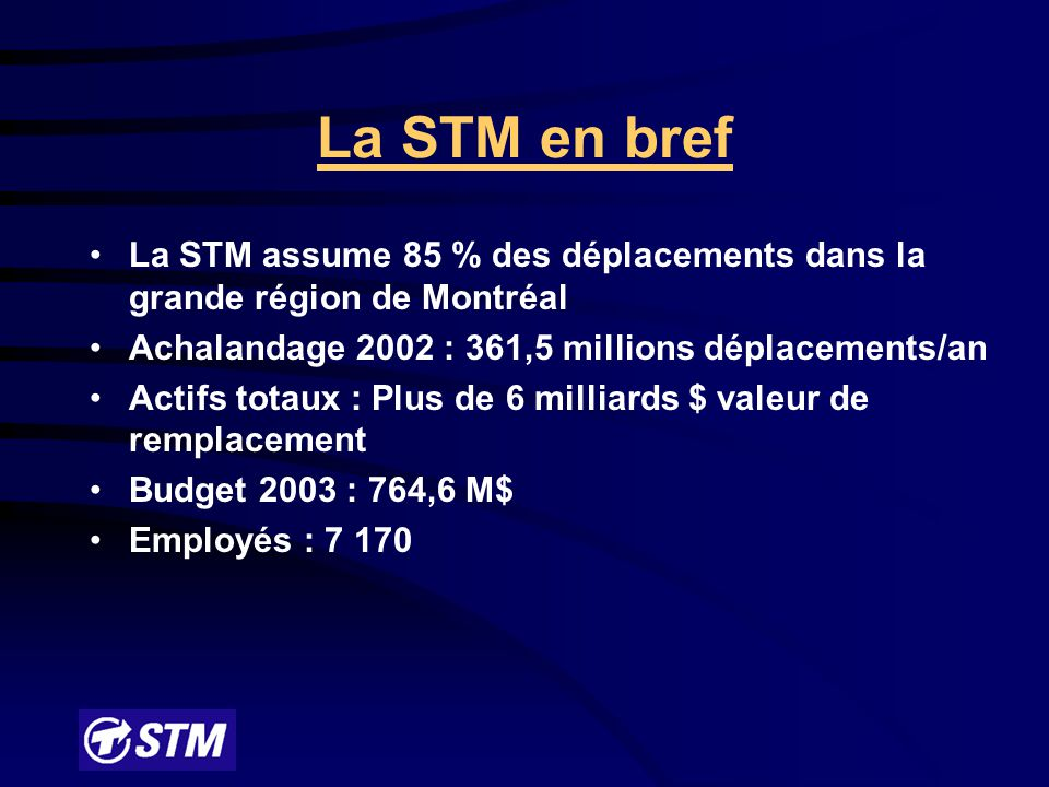 La STM en bref La STM assume 85 % des déplacements dans la grande région de Montréal Achalandage 2002 : 361,5 millions déplacements/an Actifs totaux : Plus de 6 milliards $ valeur de remplacement Budget 2003 : 764,6 M$ Employés : 7 170