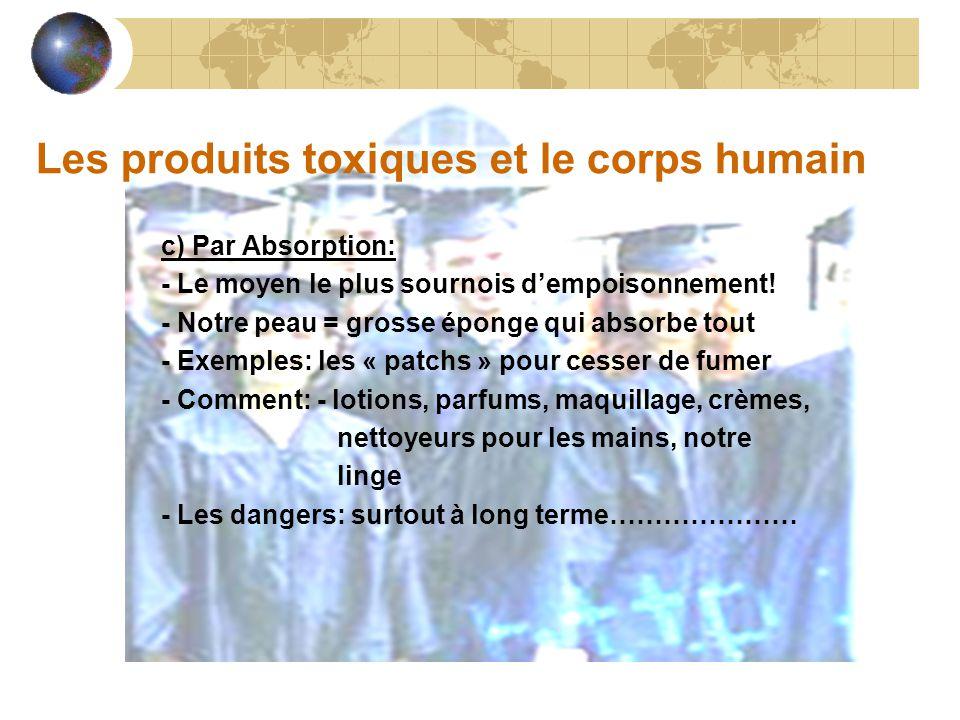Les produits toxiques et le corps humain c) Par Absorption: - Le moyen le plus sournois d'empoisonnement.