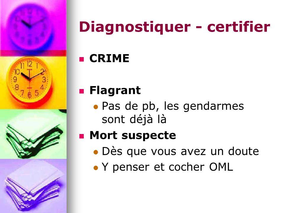 Diagnostiquer - certifier CRIME Flagrant Pas de pb, les gendarmes sont déjà là Mort suspecte Dès que vous avez un doute Y penser et cocher OML