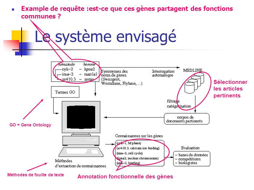Le système envisagé Example de requête :est-ce que ces gènes partagent des fonctions communes ? Annotation fonctionnelle des gènes Sélectionner les ar