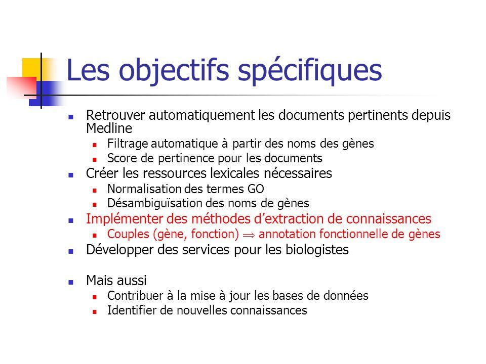 Les objectifs spécifiques Retrouver automatiquement les documents pertinents depuis Medline Filtrage automatique à partir des noms des gènes Score de