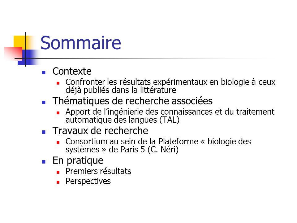 Sommaire Contexte Confronter les résultats expérimentaux en biologie à ceux déjà publiés dans la littérature Thématiques de recherche associées Apport