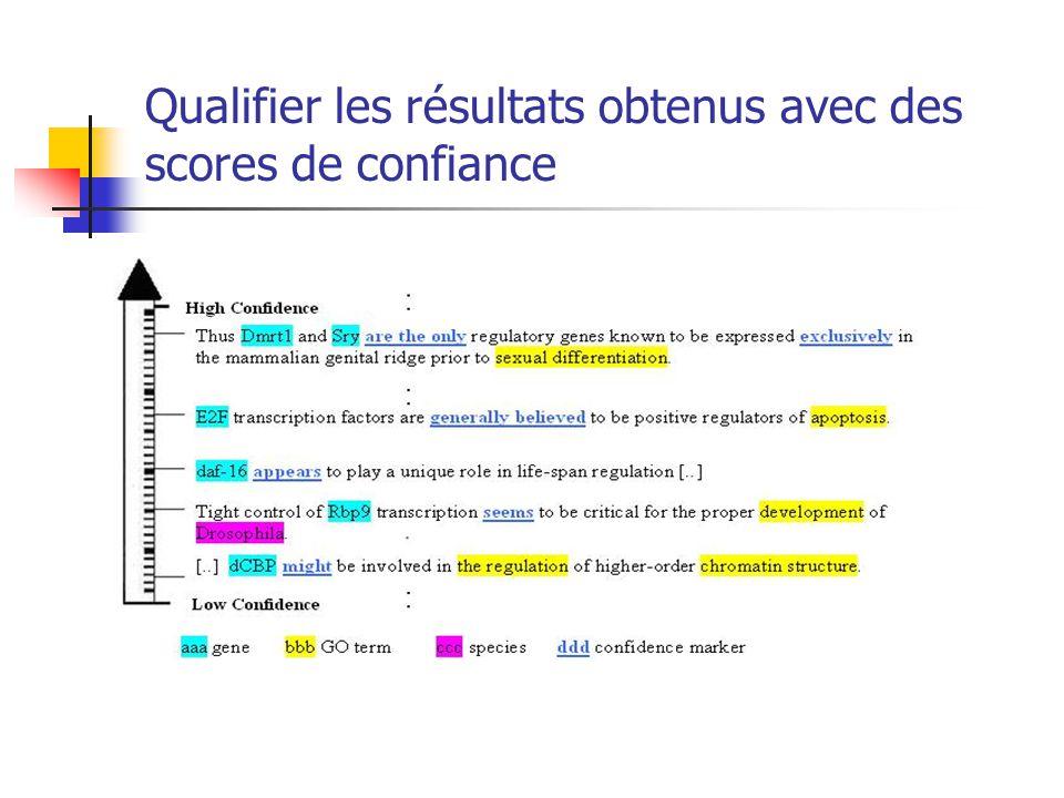 Qualifier les résultats obtenus avec des scores de confiance