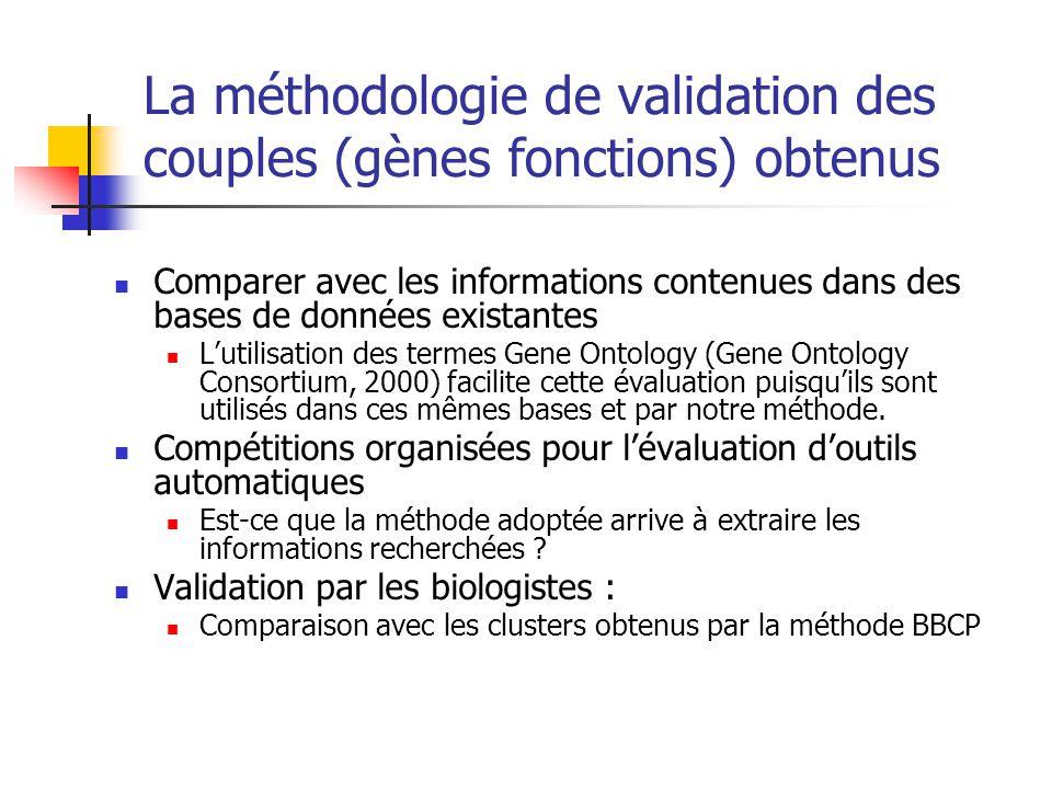 La méthodologie de validation des couples (gènes fonctions) obtenus Comparer avec les informations contenues dans des bases de données existantes L'utilisation des termes Gene Ontology (Gene Ontology Consortium, 2000) facilite cette évaluation puisqu'ils sont utilisés dans ces mêmes bases et par notre méthode.