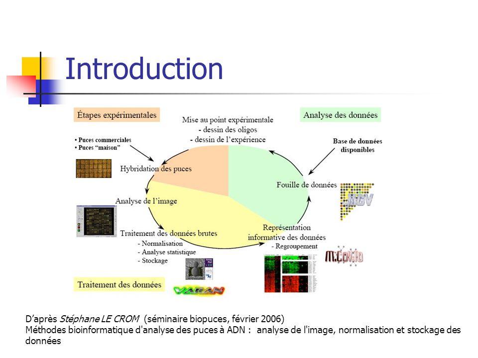 Introduction D'après Stéphane LE CROM (séminaire biopuces, février 2006) Méthodes bioinformatique d analyse des puces à ADN : analyse de l image, normalisation et stockage des données