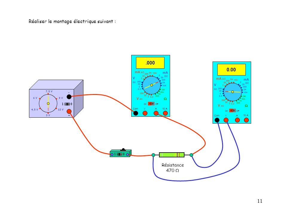 11 10 10 A 0.00 Com mA DC A OffOn 10A 2A 200 20 V  2 V AC mA AC V DC 2M 20k 2k 200 0.2 2 200 20 2 0.2 2 20 200 10A 2A 200 20 4,5 V12 V 3 V 9 V6 V 7,5 V + - Réaliser le montage électrique suivant :.000 Com mA DC A OffOn 10A 2A 200 20 V  2 V AC mA AC V DC 2M 20k 2k 200 0.2 2 200 20 2 0.2 2 20 200 10A 2A 200 20 10 A 10 Résistance 470 
