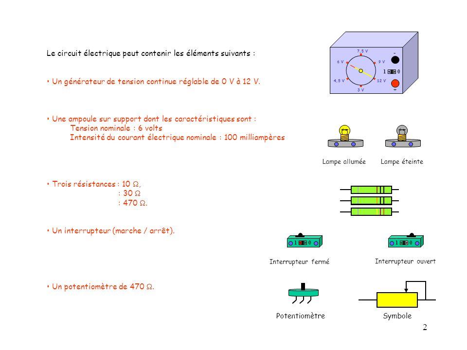 2 Le circuit électrique peut contenir les éléments suivants : Un générateur de tension continue réglable de 0 V à 12 V.