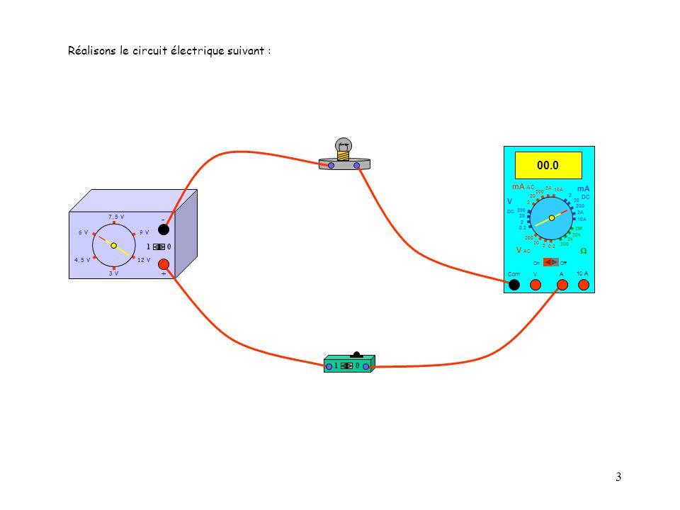 3 10 10 A 00.0 Com mA DC A OffOn 10A 2A 200 20 V  2 V AC mA AC V DC 2M 20k 2k 200 0.2 2 200 20 2 0.2 2 20 200 10A 2A 200 20 Réalisons le circuit électrique suivant : 4,5 V12 V 3 V 9 V6 V 7,5 V + - 10