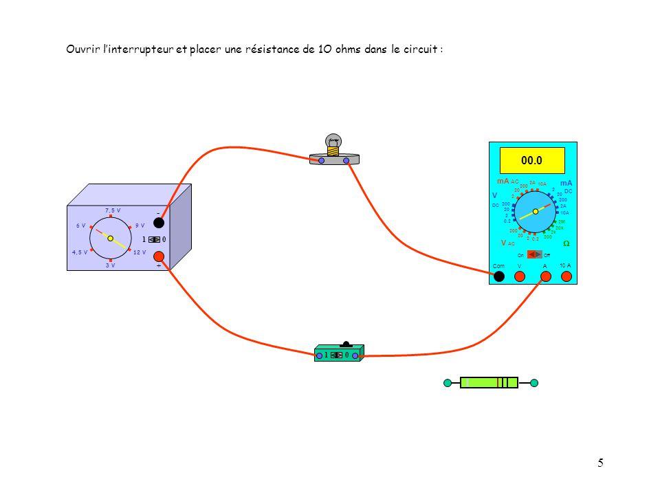 5 4,5 V12 V 3 V 9 V6 V 7,5 V + - 10 10 10 A 00.0 Com mA DC A OffOn 10A 2A 200 20 V  2 V AC mA AC V DC 2M 20k 2k 200 0.2 2 200 20 2 0.2 2 20 200 10A 2A 200 20 Ouvrir l'interrupteur et placer une résistance de 1O ohms dans le circuit :