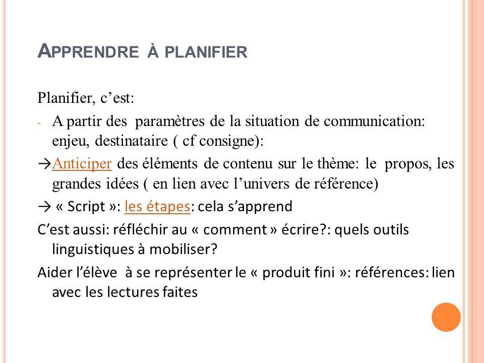 A PPRENDRE À PLANIFIER Planifier, c'est: - A partir des paramètres de la situation de communication: enjeu, destinataire ( cf consigne): → Anticiper des éléments de contenu sur le thème: le propos, les grandes idées ( en lien avec l'univers de référence) Anticiper → « Script »: les étapes: cela s'apprendles étapes C'est aussi: réfléchir au « comment » écrire?: quels outils linguistiques à mobiliser.