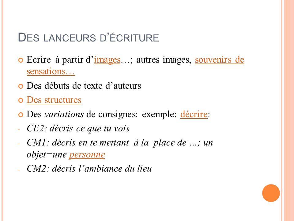 D ES LANCEURS D ' ÉCRITURE Ecrire à partir d'images…; autres images, souvenirs de sensations…imagessouvenirs de sensations… Des débuts de texte d'aute