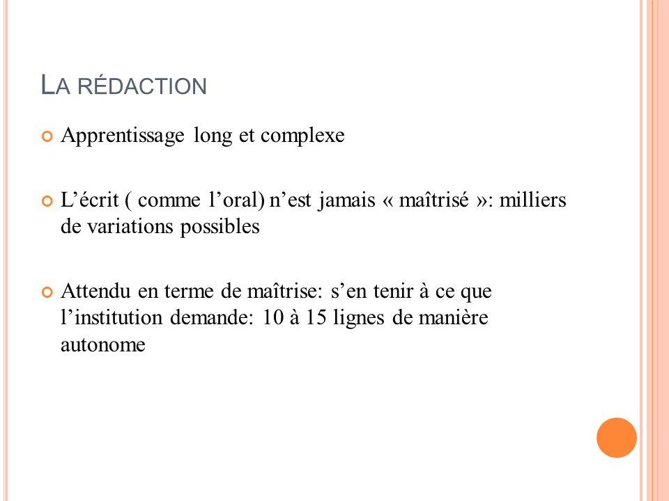 L A RÉDACTION Apprentissage long et complexe L'écrit ( comme l'oral) n'est jamais « maîtrisé »: milliers de variations possibles Attendu en terme de maîtrise: s'en tenir à ce que l'institution demande: 10 à 15 lignes de manière autonome