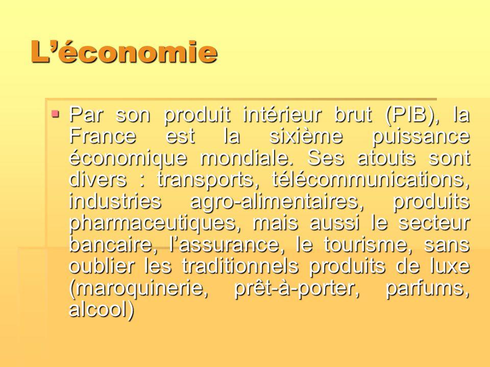 L'économie  Par son produit intérieur brut (PIB), la France est la sixième puissance économique mondiale. Ses atouts sont divers : transports, téléco