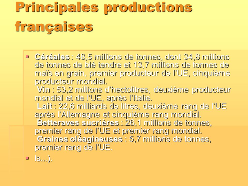 Principales productions françaises  Céréales : 48,5 millions de tonnes, dont 34,8 millions de tonnes de blé tendre et 13,7 millions de tonnes de maïs