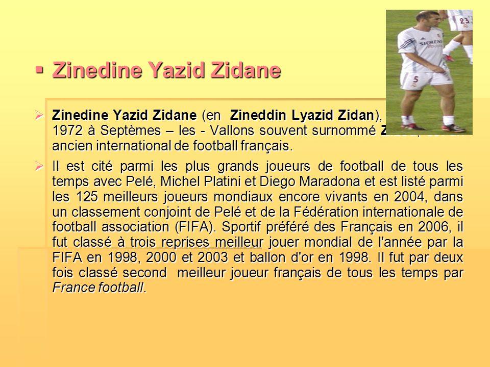 ZZZZinedine Yazid Zidane ZZZZinedine Yazid Zidane (en Zineddin Lyazid Zidan), né le 23 juin 1972 à Septèmes – les - Vallons souvent surnommé Z