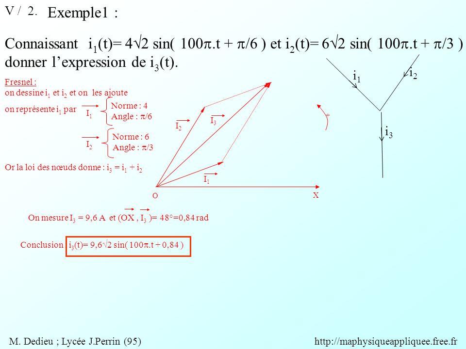 V / 2. Exemple1 : Connaissant i 1 (t)= 4  2 sin( 100 .t +  /6 ) et i 2 (t)= 6  2 sin( 100 .t +  /3 ) donner l'expression de i 3 (t). i1i1 i3i3 i