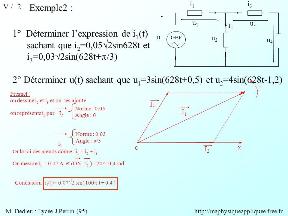 V / 2. Exemple2 : GBF u u1u1 u3u3 u4u4 u2u2 i1i1 i3i3 i2i2 1° Déterminer l'expression de i 1 (t) sachant que i 2 =0,05  2sin628t et i 3 =0,03  2sin(