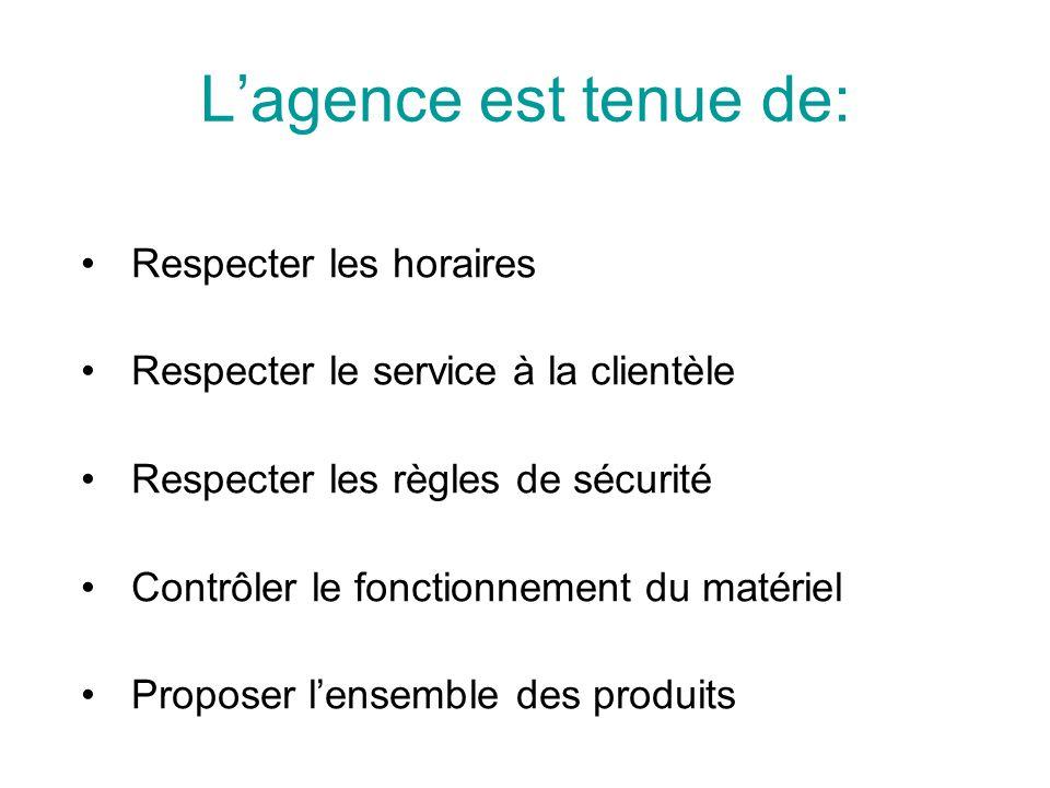 L'agence est tenue de: Respecter les horaires Respecter le service à la clientèle Respecter les règles de sécurité Contrôler le fonctionnement du maté
