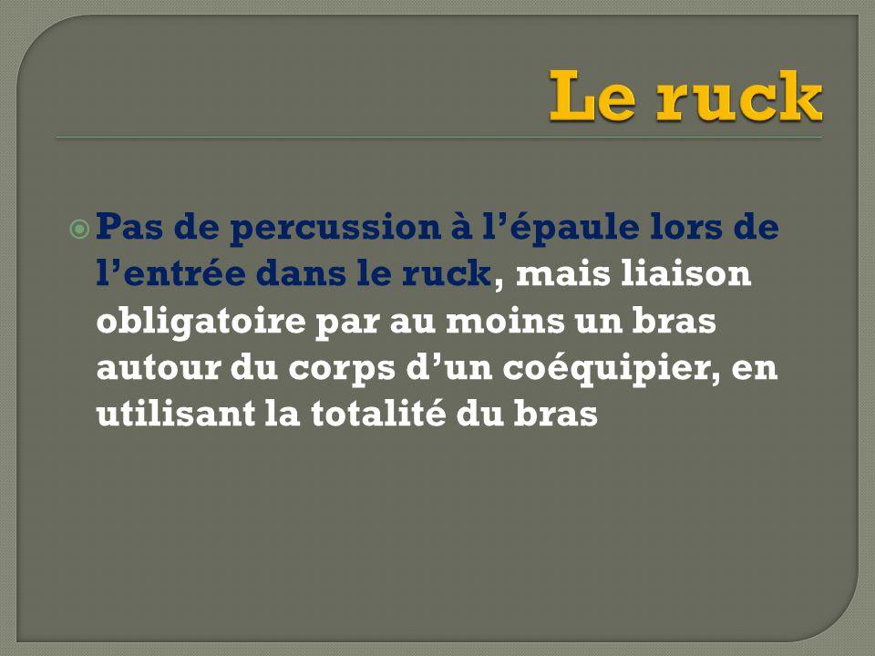  Pas de percussion à l'épaule lors de l'entrée dans le ruck, mais liaison obligatoire par au moins un bras autour du corps d'un coéquipier, en utilisant la totalité du bras