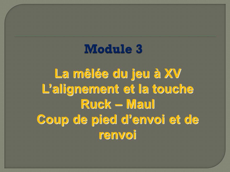 La mêlée du jeu à XV L'alignement et la touche Ruck – Maul Coup de pied d'envoi et de renvoi Module 3