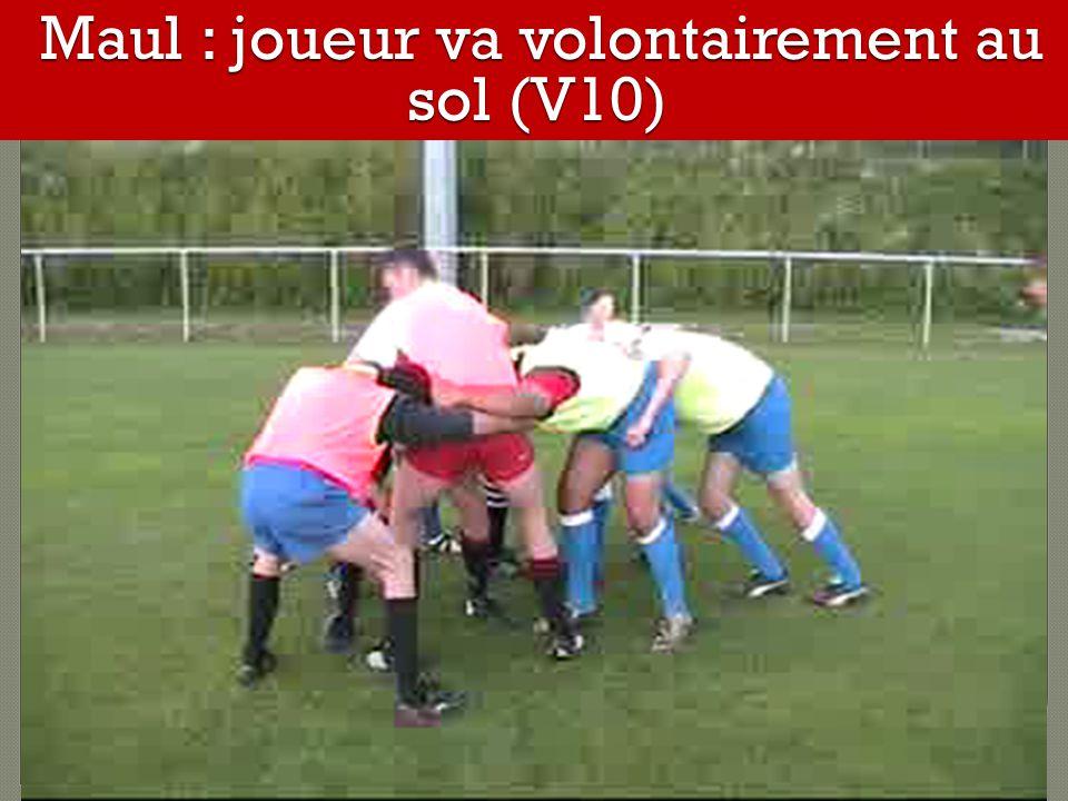 Maul : joueur va volontairement au sol (V10) Maul : joueur va volontairement au sol (V10)