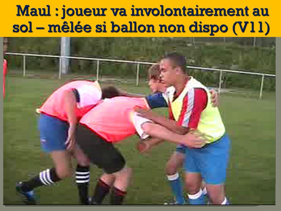 Maul : joueur va involontairement au sol – mêlée si ballon non dispo (V11) Maul : joueur va involontairement au sol – mêlée si ballon non dispo (V11)