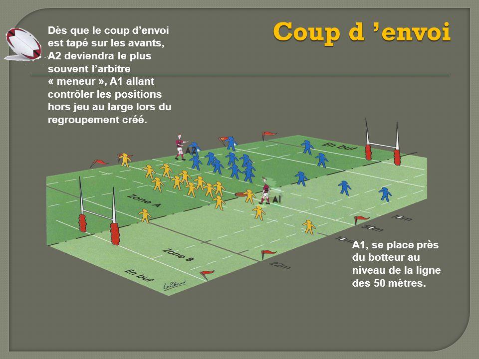 Coup d 'envoi Dès que le coup d'envoi est tapé sur les avants, A2 deviendra le plus souvent l'arbitre « meneur », A1 allant contrôler les positions hors jeu au large lors du regroupement créé.