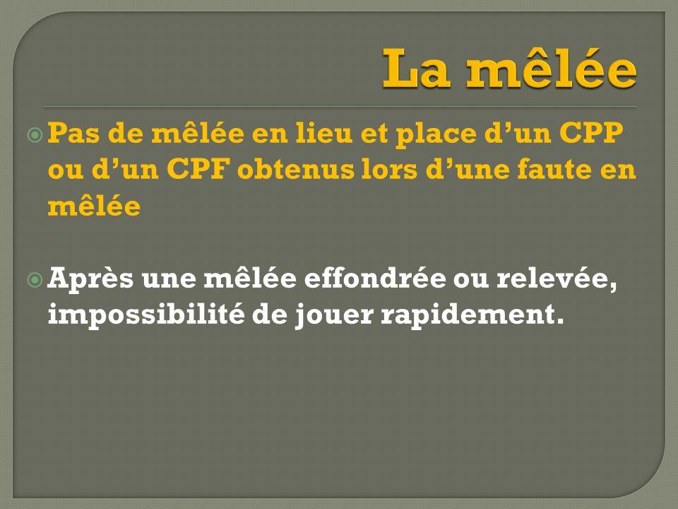  Pas de mêlée en lieu et place d'un CPP ou d'un CPF obtenus lors d'une faute en mêlée  Après une mêlée effondrée ou relevée, impossibilité de jouer rapidement.