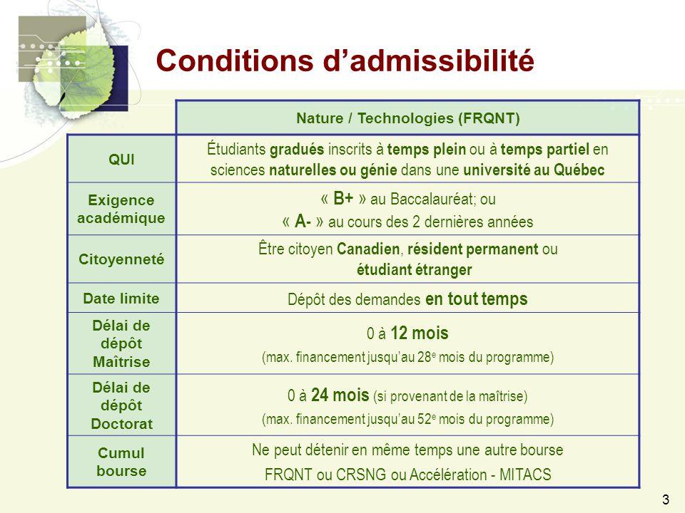 3 Conditions d'admissibilité Nature / Technologies (FRQNT) QUI Étudiants gradués inscrits à temps plein ou à temps partiel en sciences naturelles ou génie dans une université au Québec Exigence académique « B+ » au Baccalauréat; ou « A- » au cours des 2 dernières années Citoyenneté Être citoyen Canadien, résident permanent ou étudiant étranger Date limite Dépôt des demandes en tout temps Délai de dépôt Maîtrise 0 à 12 mois (max.