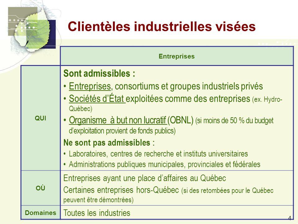 4 Entreprises QUI Sont admissibles : Entreprises, consortiums et groupes industriels privés Sociétés d'État exploitées comme des entreprises (ex.