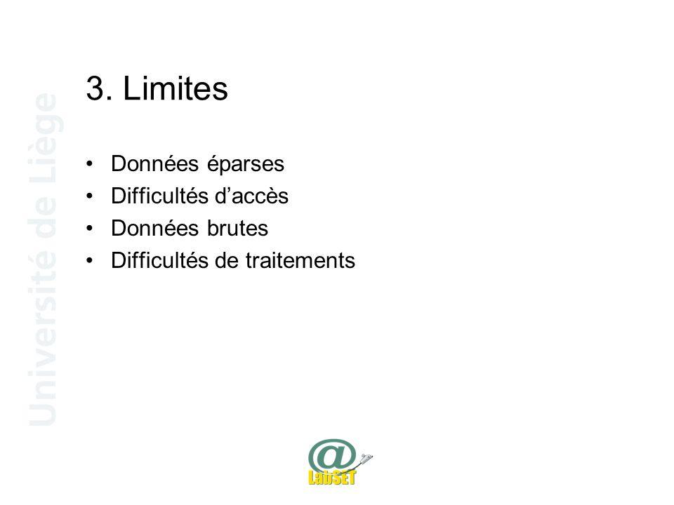 3. Limites Données éparses Difficultés d'accès Données brutes Difficultés de traitements