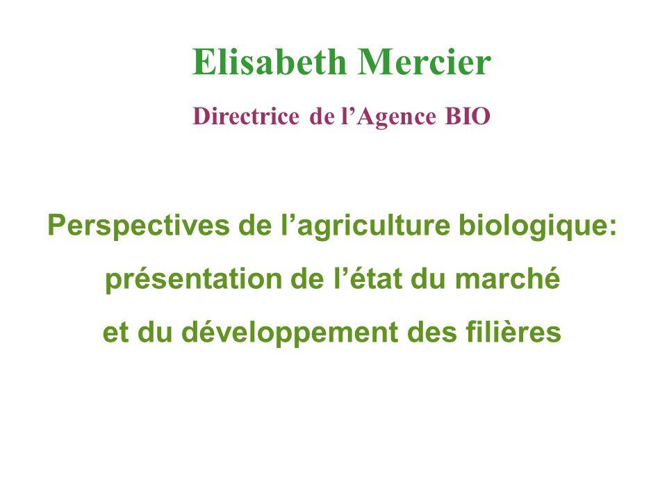 Perspectives de l'agriculture biologique: présentation de l'état du marché et du développement des filières Elisabeth Mercier Directrice de l'Agence B