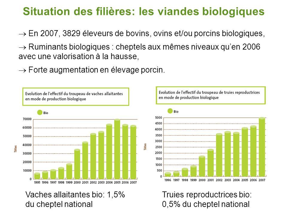 Situation des filières: les viandes biologiques  En 2007, 3829 éleveurs de bovins, ovins et/ou porcins biologiques,  Ruminants biologiques : cheptel