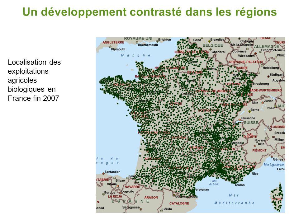 Un développement contrasté dans les régions Part de SAU bio dans les régions en 2007